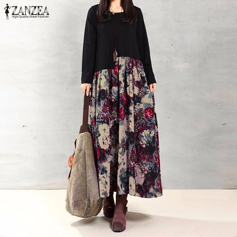 Zanzea mujeres vestido otoño 2018 vintage casual manga larga de impresión floral algodón de lino vestido largo Maxi vestidos de gran tamaño