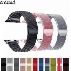Faixa de Relógio cinta Para Apple 42mm/38mm iWatch 4 banda 44mm/40mm Milanese Laço pulseira de Aço Inoxidável pulseira de relógio Maçã 4/3/21