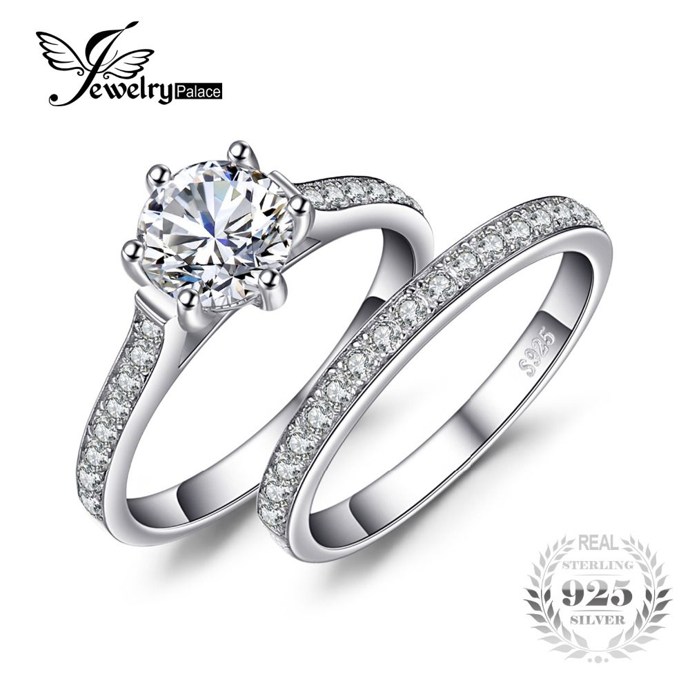 JewelryPalace Wedding and Bridal 1.5ct Cubic Zirconia Six Prong Set Solitaire Ring Set 925 Sterling For Women hot selling 2017