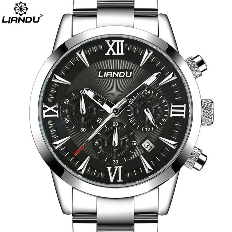LIANDU Multiple Time Zone Men's Fashion Business Watch Chronograph Unique Engraved Dial Military Sport Watches Relogio Masculino