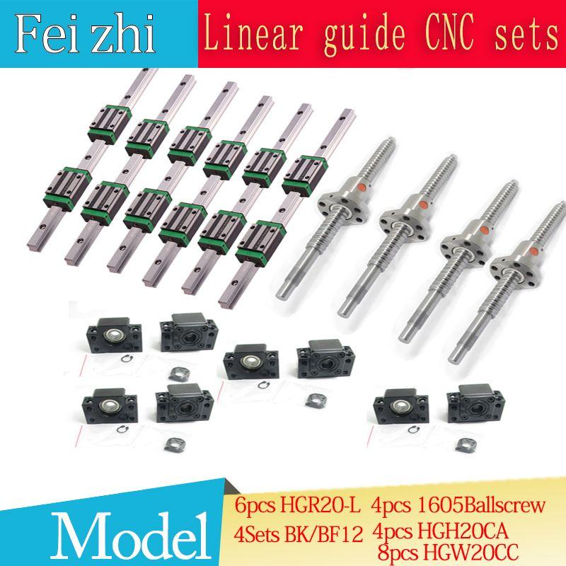 12pcs Square Linear guide HGR20-400-900-1150 + 3pcs Ballscrew SFU605- + BK BF12 + jaw Flexible Coupling Plum Coupler for cnc