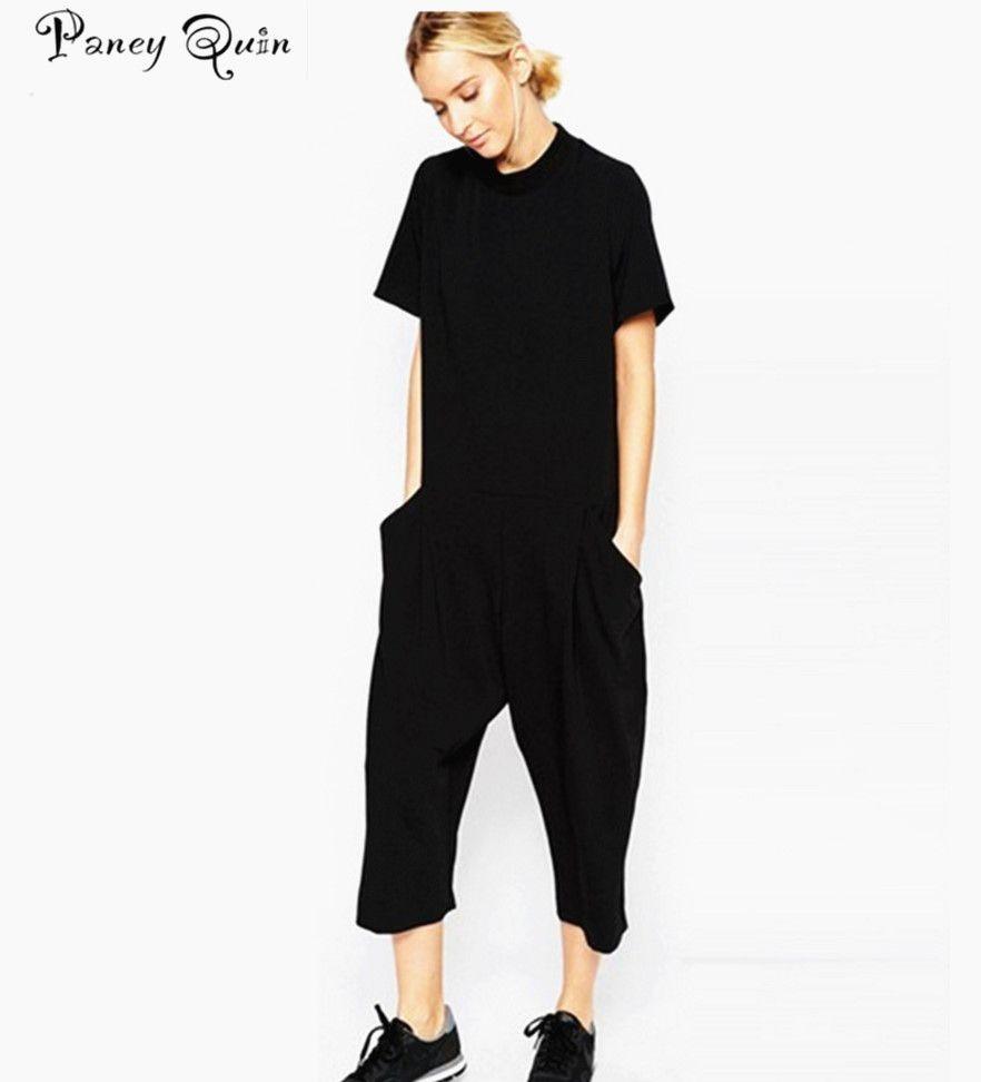 2018 Летние черные женские Комбинезон Элегантные Комбинезоны боковой карман свободного кроя шаровары комбинезоны комбинезон для женщин