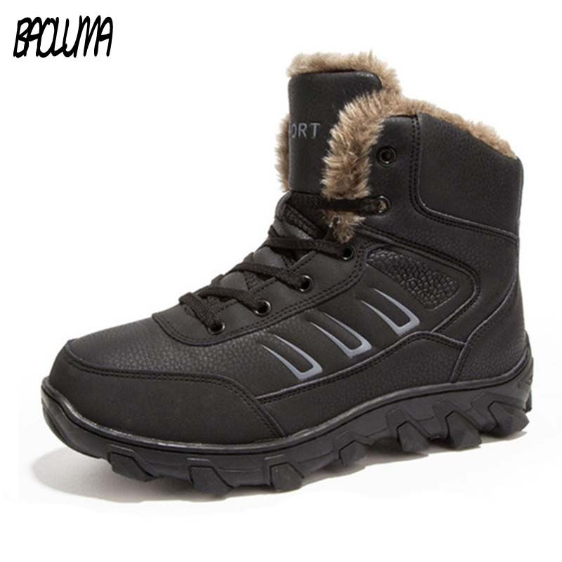 Genuine Leather Men Winter Boots Combat Ankle Boots Work Breathable Durable Men Army Forces Rubber Mid-calf High Top Boots Shoes
