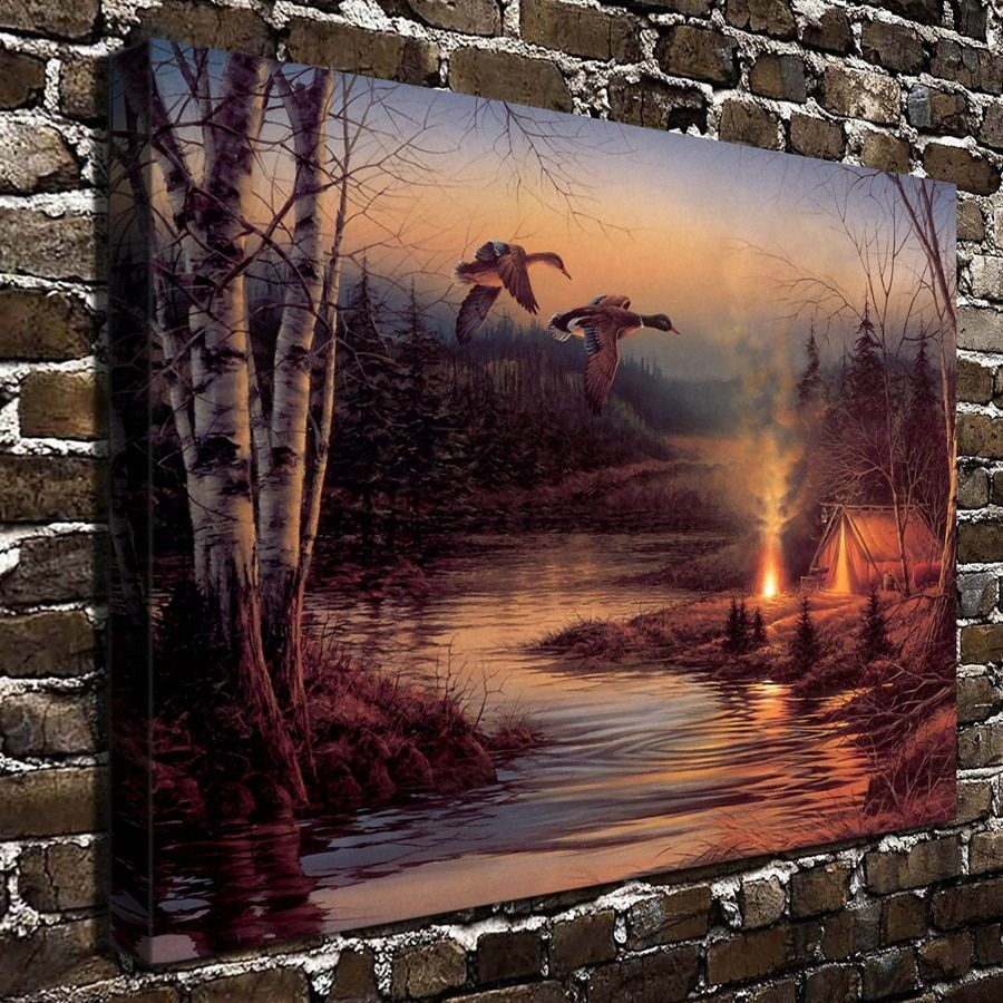 A781 Terry Redlin Twilight Glow Animal Scenery. HD Canvas Print Home decoration Living Room bedroom Wall pictures Art painting
