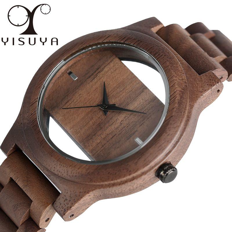 Unique Hollow Dial Men Women Natural Wood Watch with Full Wooden Bamboo Bangle Quartz Wristwatch Novel Handmade Clock Gifts Item