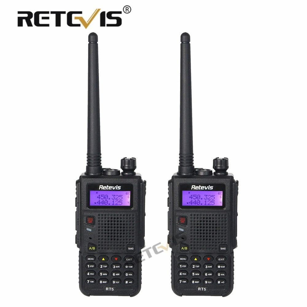 2pcs 8W Walkie Talkie Black Retevis RT5 128CH VHF UHF Frequency Portable cb Radio Set Long Range 2 Way Radio Station Walk Talk