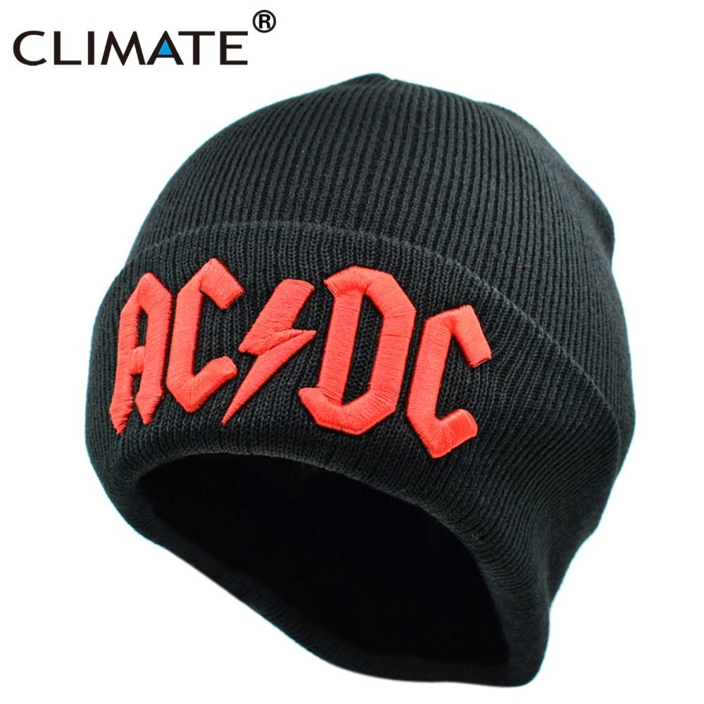 CLIMATE Men Women Winter Warm Beanie Hat Rock ACDC AC/DC Rock Band Warm Winter Soft Knitted Beanies Hat Cap For Adult Men Women