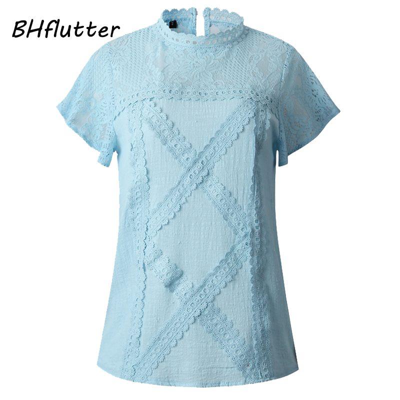 BHflutter Coton Dentelle Chemises Femmes 2019 Mode O cou Manches Courtes décontracté D'été Chemisiers et hauts Sexy évider hauts Blusas