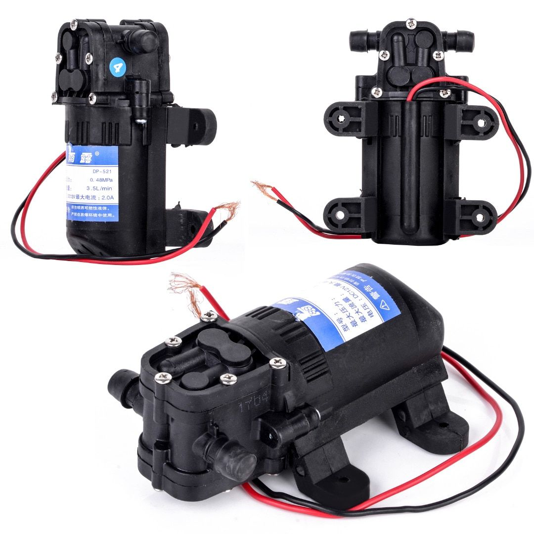 1pc High Pressure Low Noise Black DC 12V Water Pump 70 PSI Agricultural Electric Mayitr Diaphragm Water Sprayer Pump 12.5cm