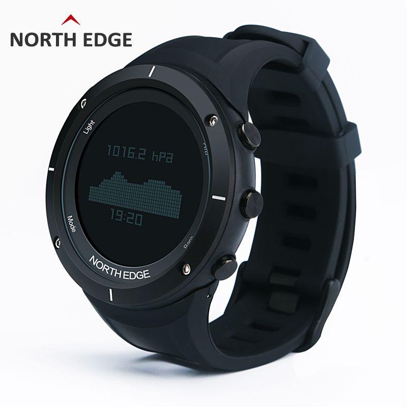 NORTH EDGE Men Sports Watch Altimeter Barometer <font><b>Thermometer</b></font> Compass Heart Rate Monitor Pedometer Digital Running Climbing Watch