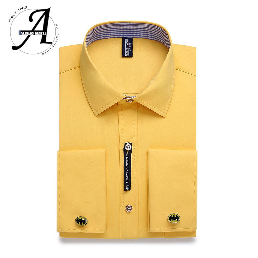 Alimens & doux hommes français manchette robe chemise hommes à manches longues couleur unie rayé Style bouton de manchette comprennent 2019 mode nouveau