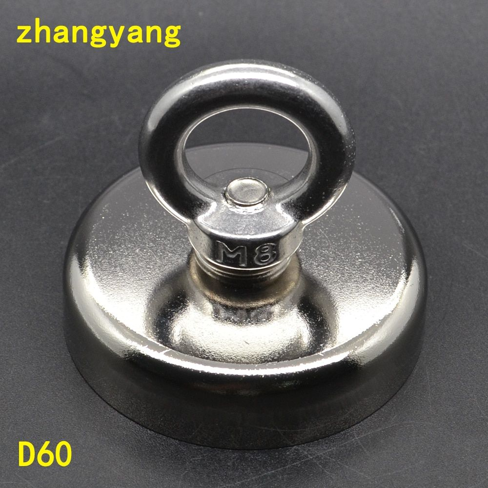 1pcs Pulling Mounting D60mm strong powerful neodymium Magnetic Pot with ring fishing gear, deap sea salvage equipments D60