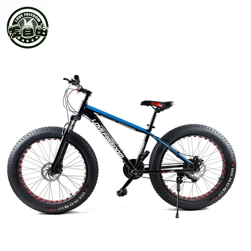 Love Freedom 24 Speed Mountain Bike Cross-country Aluminum Frame 26*4.0 Fatbike Disc <font><b>brake</b></font> Snow bicycle Free Delivery