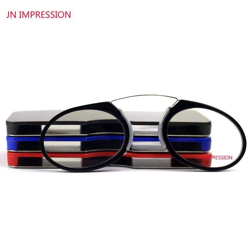 JN IMPRESSION Pince Nez sur lunettes de lecture Mini Pince Nez pliable lunettes presbytes cadre métallique loupe SOS lecteur portefeuille