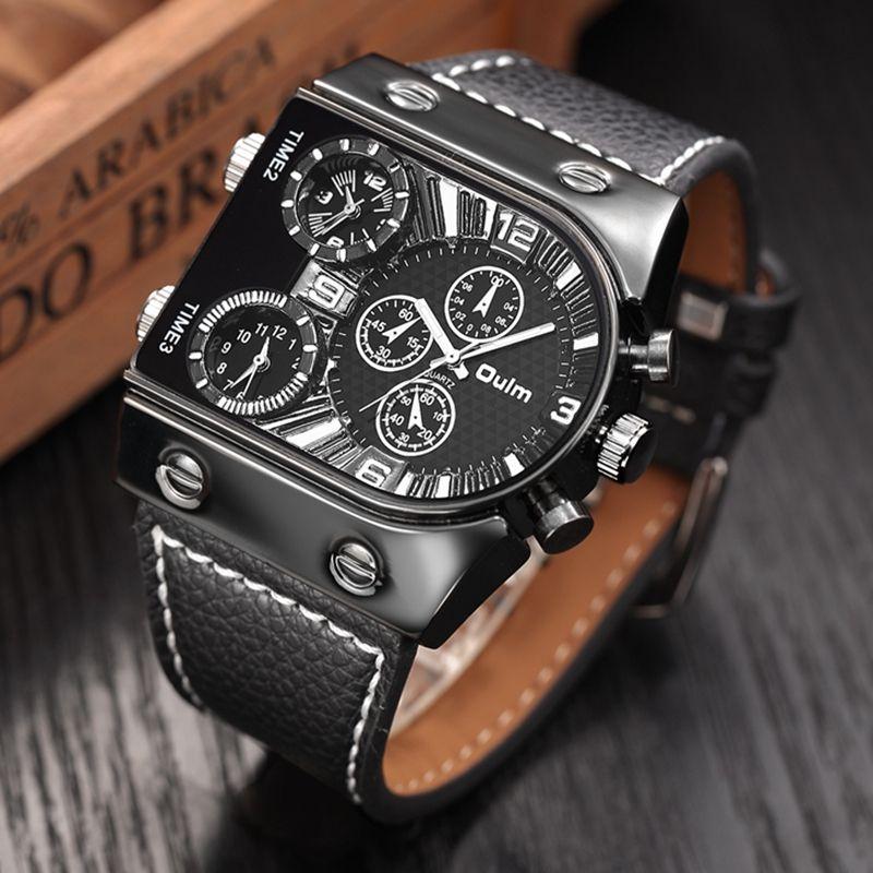 Oulm homme Montres Hommes Quartz Bracelet En Cuir Occasionnels Montre-Bracelet Sport Homme Multi-temps Zone Militaire Mâle Montre Horloge relogios