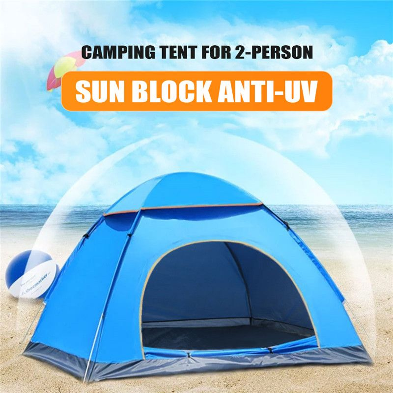SGODDE Outdoor Portable Anti-UV 2 Person Ultralight Folding Tent Waterproof Hiking Camping Tent Pop Up Automatic Open Sun Shade