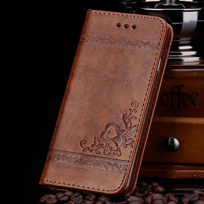 Floral Leather Wallet Case for 4 4s 5 se 5s 6 6s 7 8 Plus High Quality PU Leather Flip Case Mobile Phone Bags Covers Skin