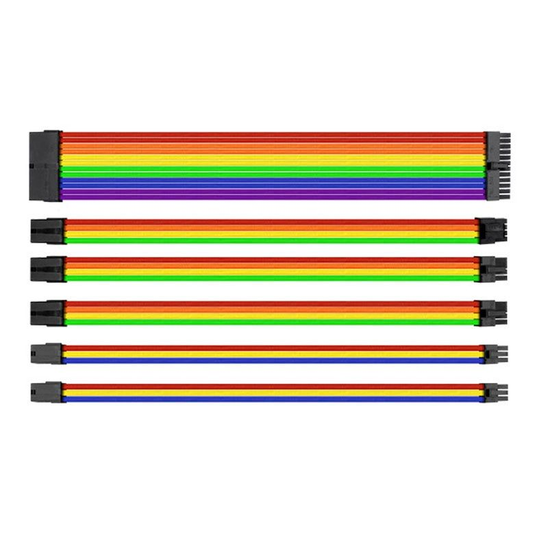 30cm UL 1007 18AWG Motherboard Multicolor Sleeved Power Extension Cable Set 24Pin/8Pin/6Pin