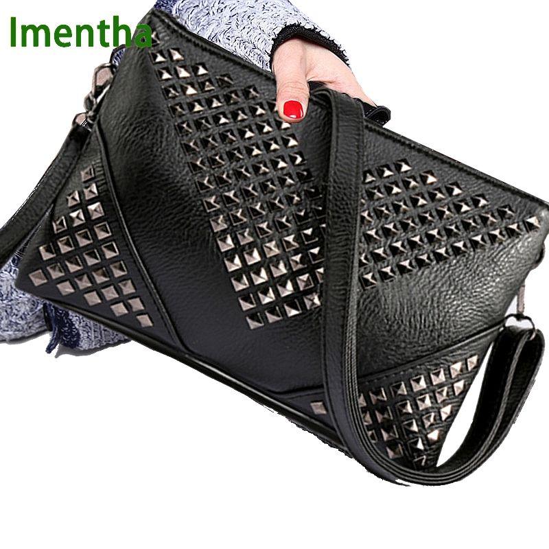 Haute qualité noir femmes sacs à main en cuir Rivet stud crossbody sacs femme femmes messenger sacs sacs à main et sacs à main sac à bandoulière