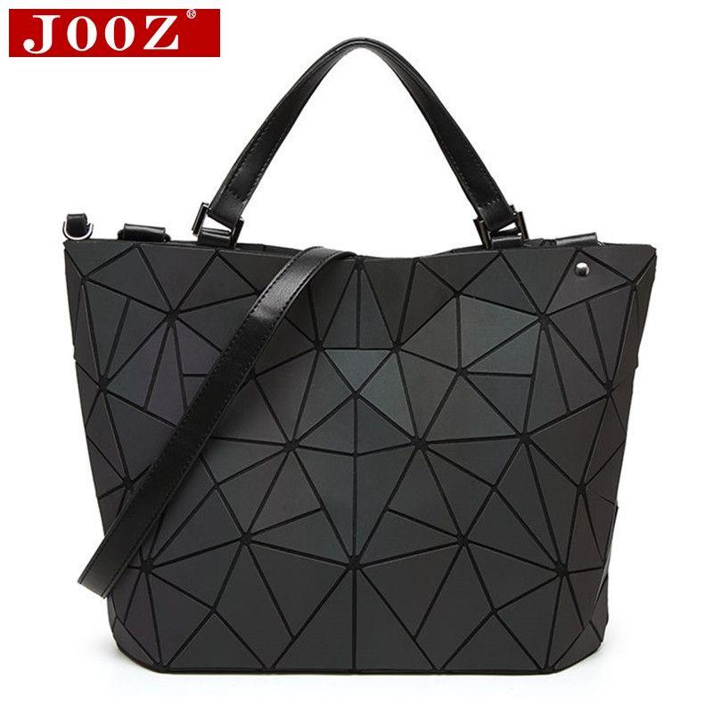 JOOZ Luminous bag Women Geometry Diamond Tote Quilted Shoulder Bags Laser bucket Folding Handbags Hologram Drop Shipping
