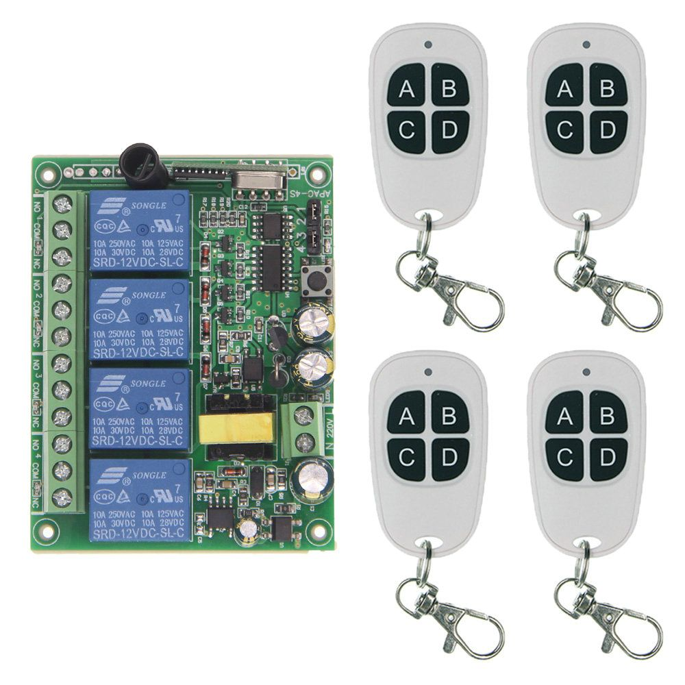 Wireless Relay 220V 10A Relay 4CH 4 CH Wireless RF Remote Control Switch Transmitter+ Receiver,Toggle/Self-lock