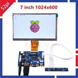 52Pi 7 inch LCD 1024*600 Display Monitor Bildschirm Kit mit Stick Board (HDMI + VGA + 2AV) für Raspberry Pi, PC Windows 7/8/10