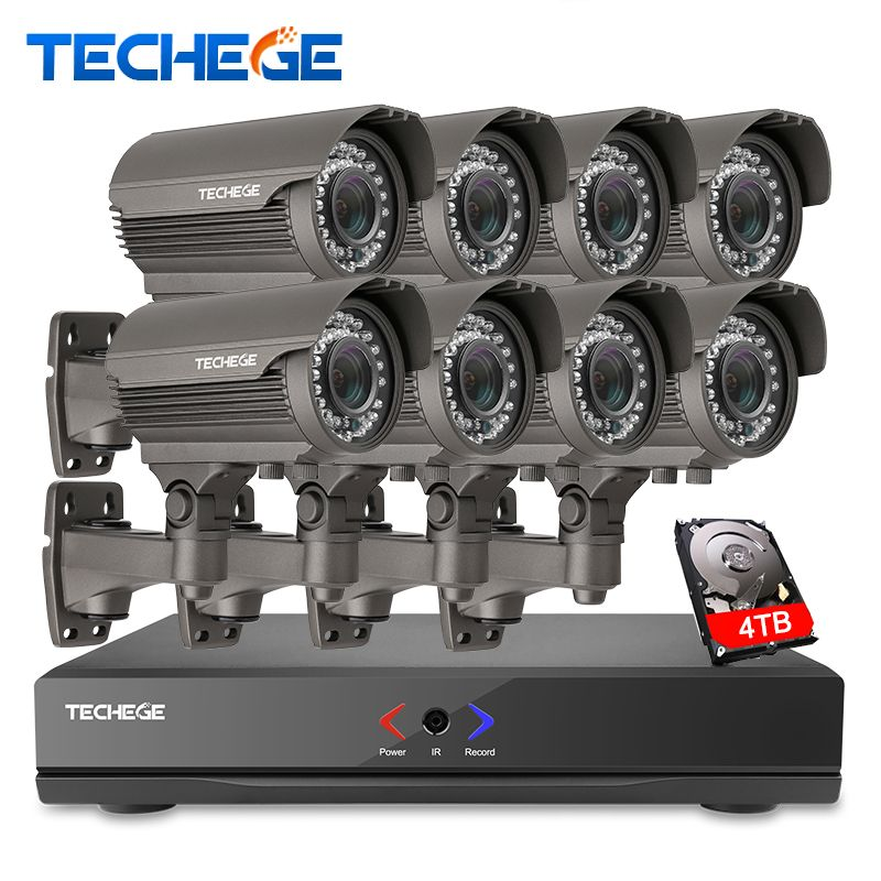 Full 8CH 1080P POE kit 48V POE NVR 8PCS 2.0mp PoE IP Camera 2.8-12MM zoom P2P Cloud cctv system video surveillance system