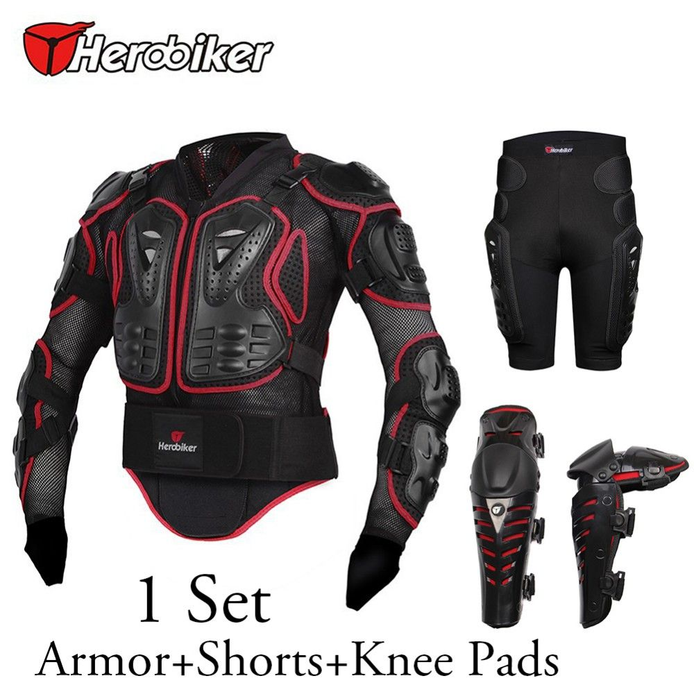 Free shipping 1set Motorcycle Racing Riding Full Body Armor Protection Gear Motorcycle Armor Knee Protective and Hip Pads Shorts