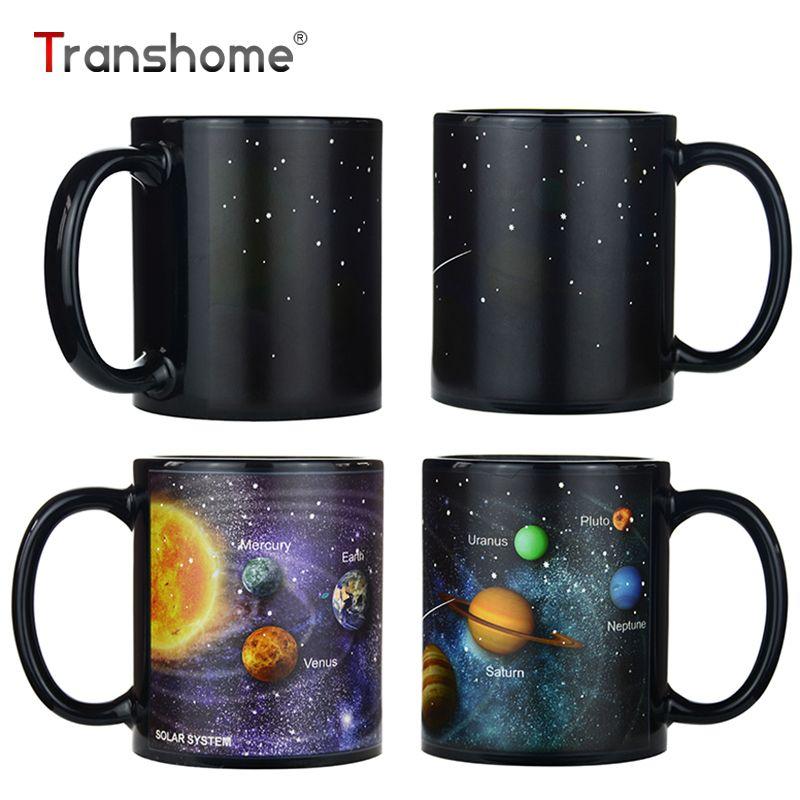 Transhome Creative Porcelaine Tasse Solaire Changement de Couleur Tasse Pour Le Thé Café Tasses Et Tasses 380 ML Voyage Café Tasse En Céramique tasse
