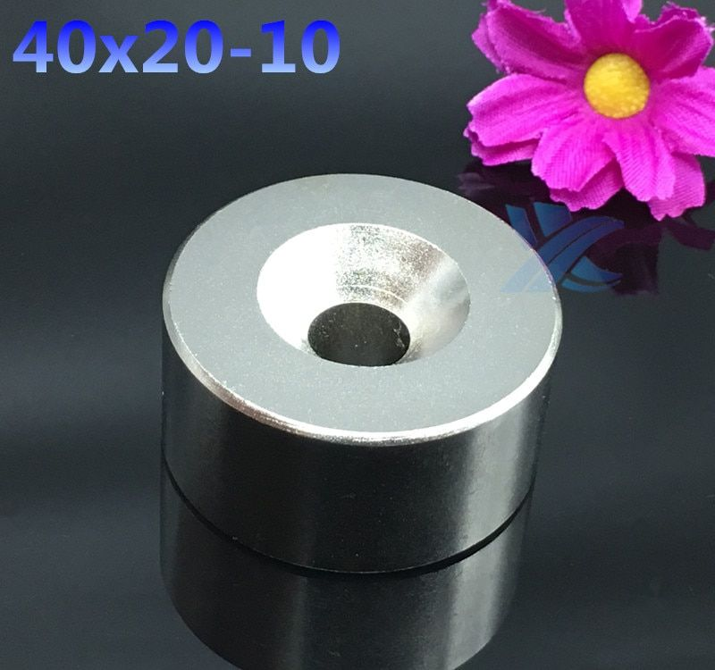Aimant néodyme 40x20mm trou 10mm super fort rond terre Rare puissant NdFeB gallium métal haut-parleur magnétique 40*20mm disque N35