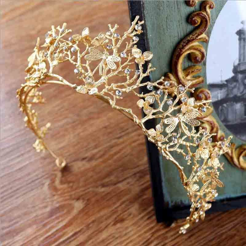 Vintage Baroque Wedding Bridal Hair Accessories Bridesmaid Dragonfly Women Girls Gold Crystal Tiara Crown Headbands