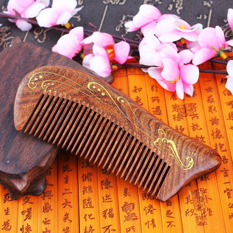 TI02 Sandalwood Combs Solid Wood Carving Ancient Foil Gold Combs Match <font><b>Green</b></font> Sandalwood Antistatic