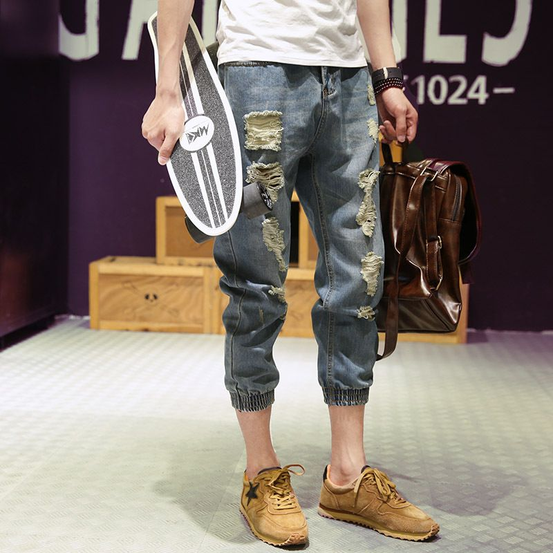 Fashion 2018 Summer Casual thin jeans male Distressed Teenager Ripped hole beggar Leg Denim Capri trousers Calf Length pants Men
