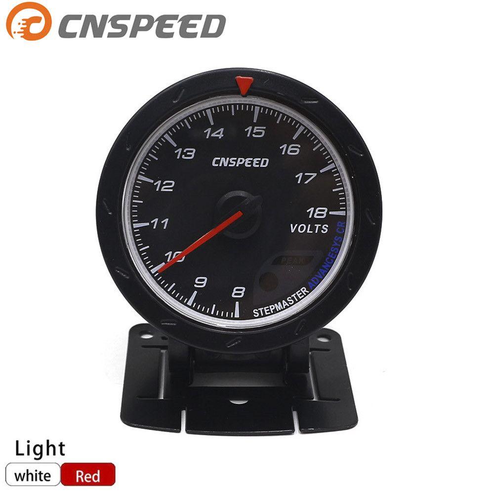 Free shipping CNSPEED 60MM Car Voltmeter 8-18V Voltage Gauge Red & White Lighting Volt Gauge Car Meter /Auto Gauge YC101167