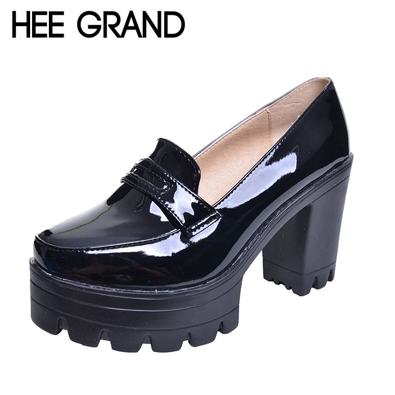 HEE GRAND Fashion Sweet PU Leather Thick Heel Women Shoes, Platform Slip-on Casual Single Shoes For Women Drop Shipping XWD1334