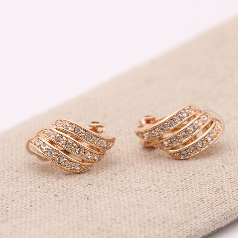 Non pierced ear clip ear cuff austrian crystal clip on earrings New deisgn jewely gold color brincos boucle d'oreille