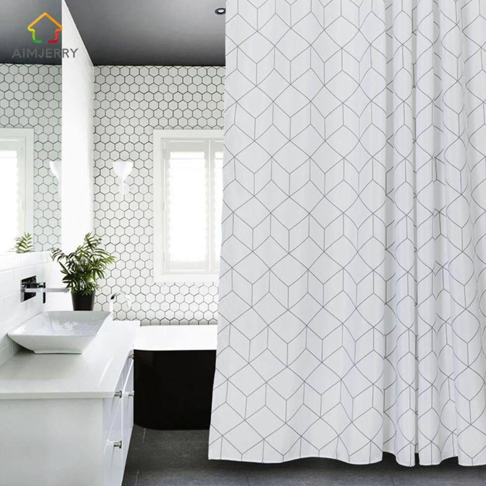 Aimjerry blanc et gris baignoire salle de bain tissu rideau de douche avec 12 crochets 71W x 71H haute qualité étanche et anti-moisissure 041