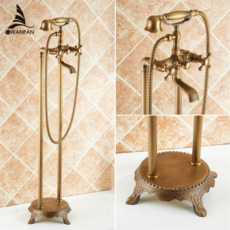Badewanne Wasserhahn Massivem Messing Luxus Stand Bad Badewanne Wasserhahn Antike Dual Griff mit Handbrause Kran HJ-6051