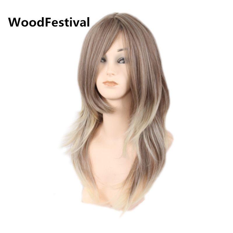 WoodFestival femmes perruque longue ligne droite cheveux brun noir blonde mixte couleur résistant à la chaleur synthétique perruques