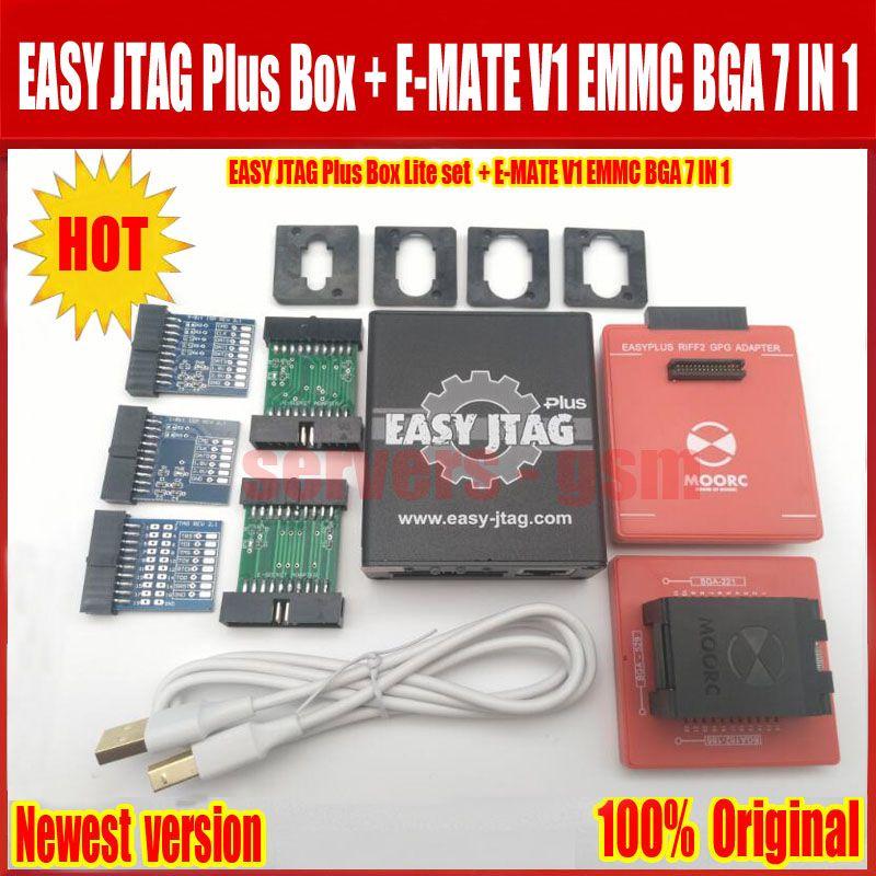 2018 Newest Original Easy jtag plus box + E-MATE V1 Emate box EMMC BGA 7 IN 1 ,Free Shipping