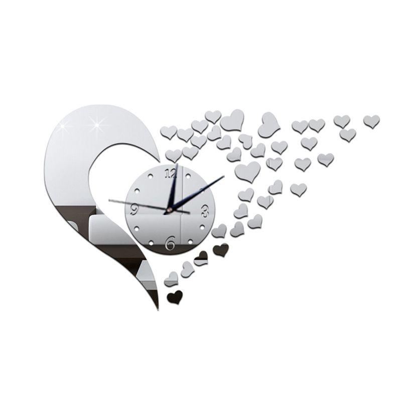 3D настенные часы оригинальный Шпигель DIY Wallclock сердце декоративные настенные часы современный Дизайн Стикеры horloge murale Дизайн Moderne