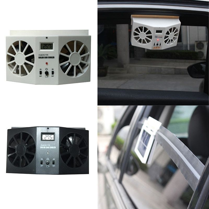 Solar Powered Dual-mode Car fans New Cooling system kit DC12V White Air Vent Exhaust Fan with Rubber Stripping High-Power Supply