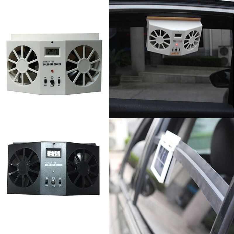 Solar Powered Dual-mode Car fans New Cooling system kit <font><b>DC12V</b></font> White Air Vent Exhaust Fan with Rubber Stripping High-Power Supply