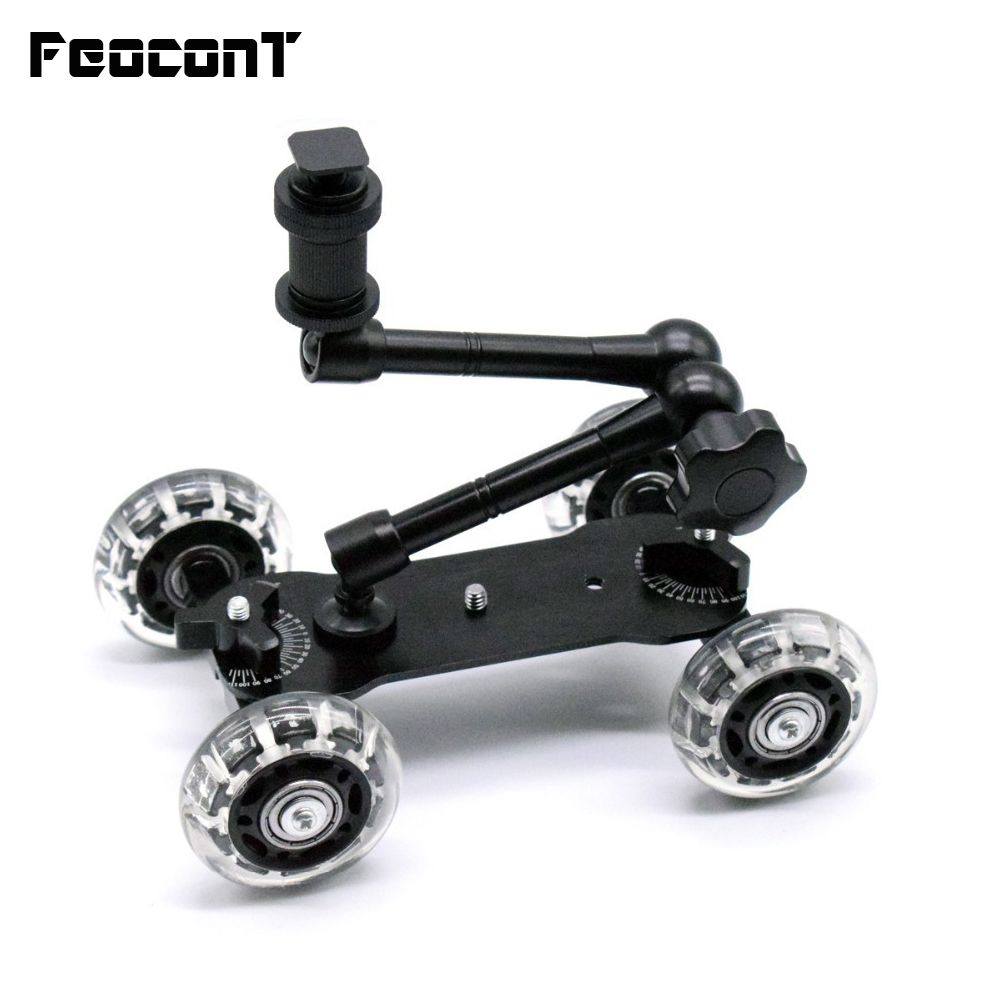 Mobile Rolling Sliding Dolly Stabilizer Skater Slider +11 Articulating Magic Arm Camera Stand Photography Car For GoPro 7 6 5 4