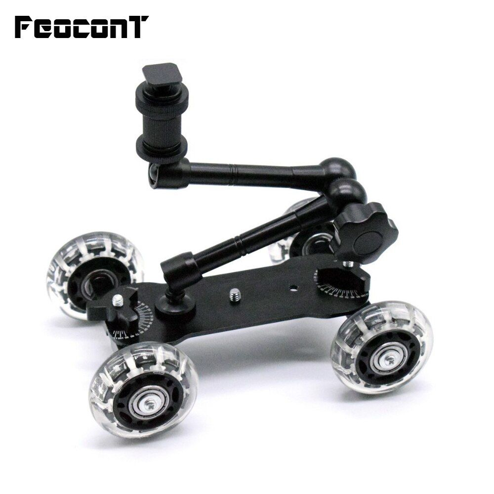 Mobile Rolling Sliding Dolly Stabilizer Skater Slider 11Articulating Magic Arm <font><b>Camera</b></font> Rail Stand Photography Car For GoPro 7 6