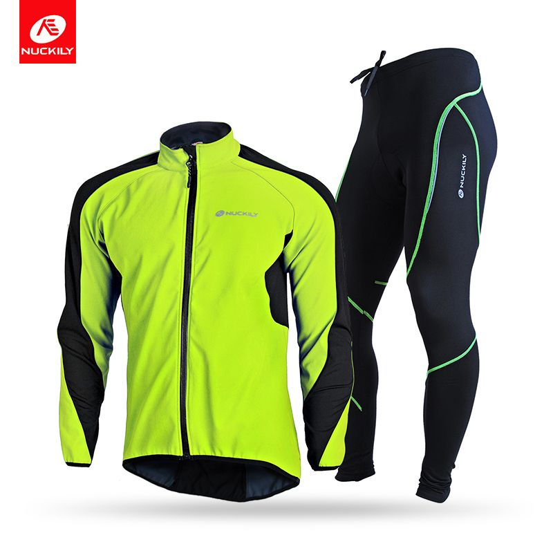 NUCKILY Men's Bicycle Jersey Set Waterproof Windproof Winter Riding Jacket Thermal Fleece Gel Pad Cycling Tights Set NJ604-903-W