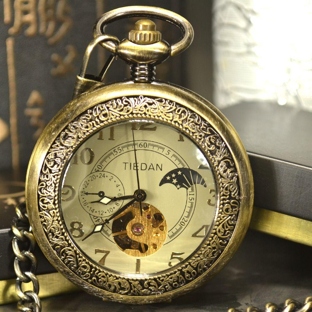 Luxus Skeleton Bronze Retro Antike Skeleton Mechanische Taschenuhr Männer Kette Halskette Business Tasche & Fob Uhren