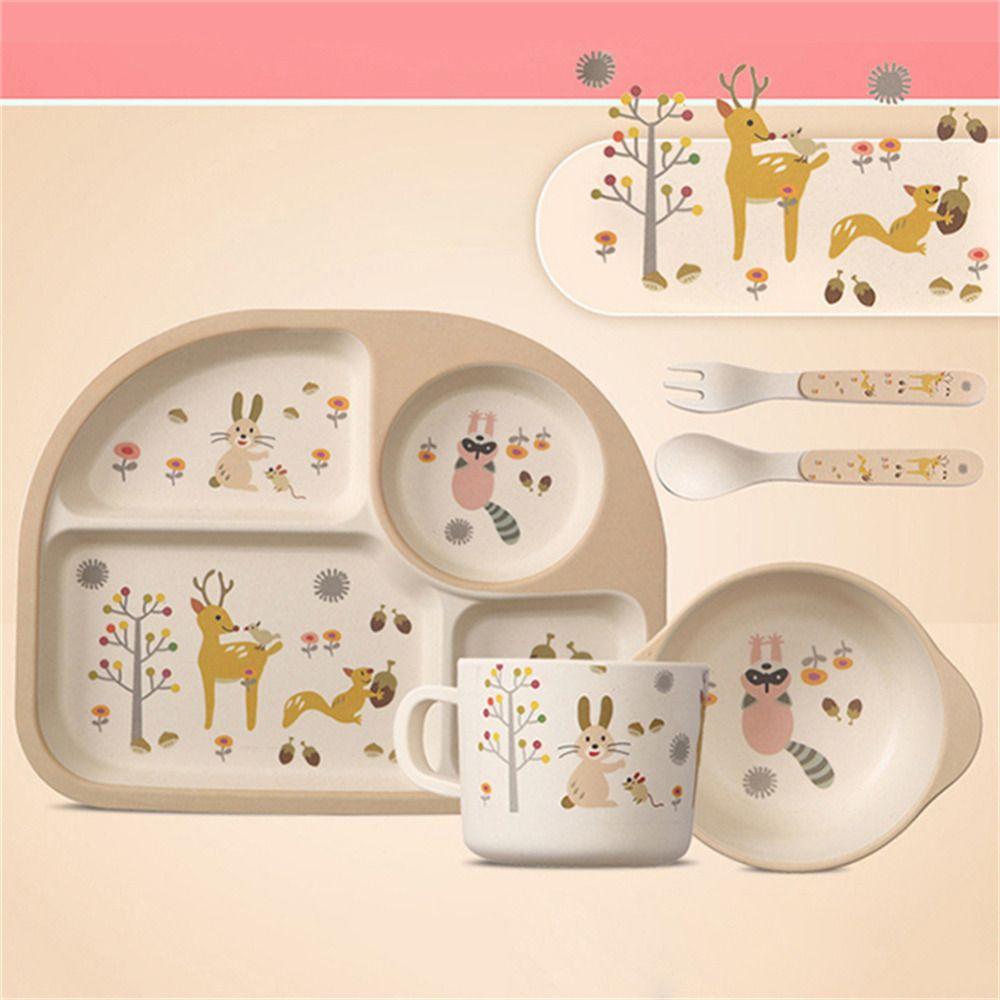 5 шт. милые дети Посуда комплект Бамбук Волокно мультфильм чаша набор чашка Ложка пластина для Миски детские для детей кормление