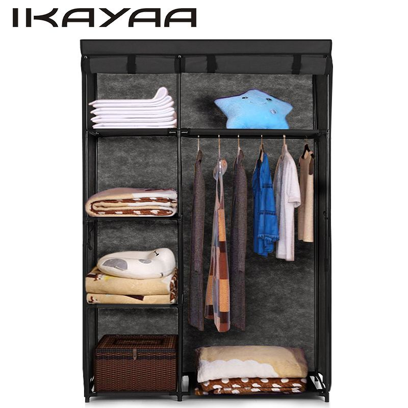 iKayaa Fabric Folding Closet Wardrobe Cloth Cabinet Roll Up Clothes Organizer Wardrobe with 5 Storage Shelves US FR DE Stock