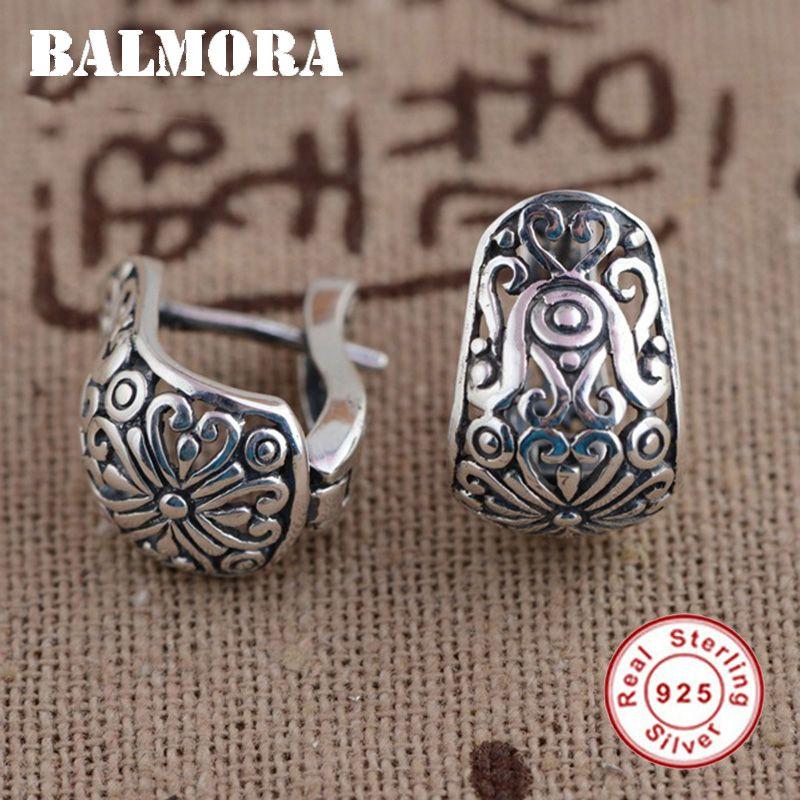 Balmora 100% реальные 925 чистого серебряные ювелирные изделия клип серьги для женщин партии подарки Ретро Элегантные украшения Brincos SY31175